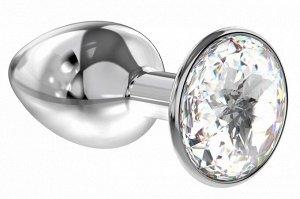 Малая серебряная металлическая пробка с прозрачным кристаллом