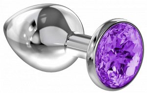 Малая серебряная металлическая пробка с фиолетовым кристаллом