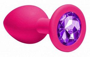 Средняя анальная пробочка с фиолетовым кристаллом Cutie Medium
