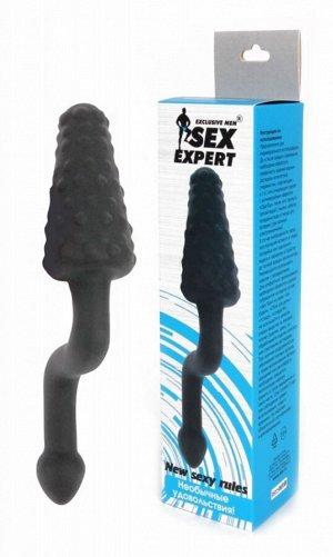 Анальный стимулятор с пупырышками и с ручкой Sex Expert