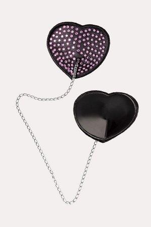 Пестис в форме сердец с розовыми стразами и цепочкой черные Erolanta