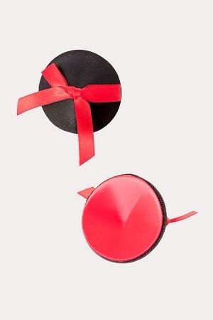 Пестис круглые кожаные с красными бантиками Erolanta