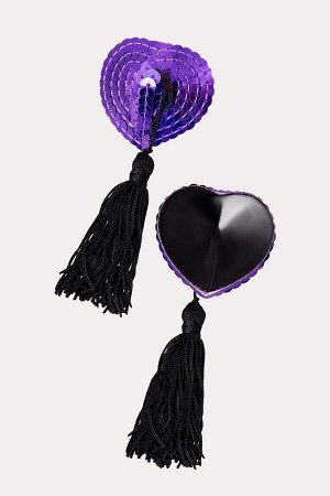 Пестис фиолетовые сердечки из пайеток с черными кистями Erolanta
