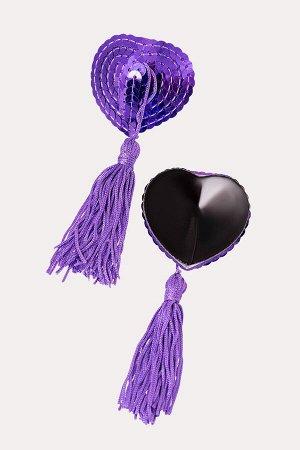 Пестис фиолетовые сердца из пайеток с кистями Erolanta