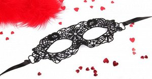 "Чёрная ажурная маска на завязочках ""Одри"""