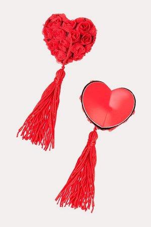 Пестис красные сердечки с розами и кистями Erolanta