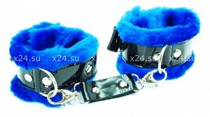 Комплект с синим мехом (ошейник, фиксаторы на руки) BDSM fight
