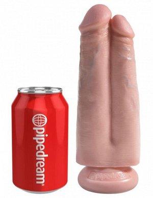 Фаллоимитатор сдвоенный на присоске King Cock 7'' Two Cocks One Hole