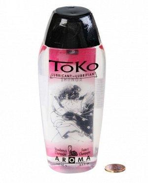 Лубрикант на водной основе с ароматом клубники и шампанского TOKO (165 мл)