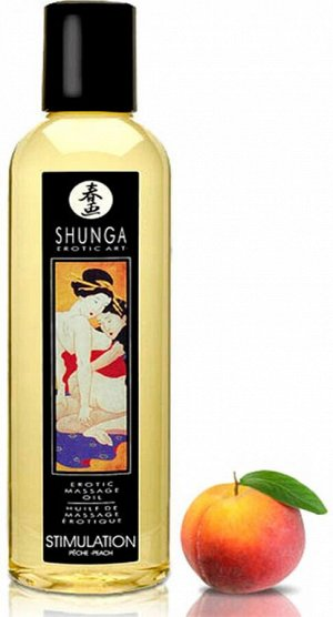 Натуральное возбуждающее массажное масло Shunga STIMULATION с ароматом персика (240 мл)