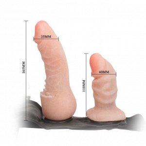 Страпон для двойного проникновения Ultra Female Harness (вторая кожа)