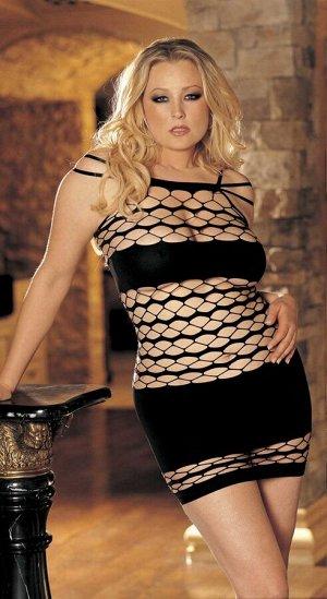 Черное бесшовное мини-платье XL