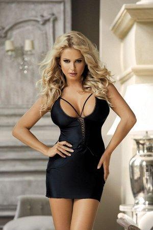 Чёрное мини-платье на шнуровке спереди SM
