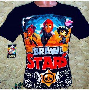 Супер светящаяся футболка «Brawl stars» черная