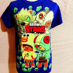 Светящаяся футболка «Brawl stars»  синяя