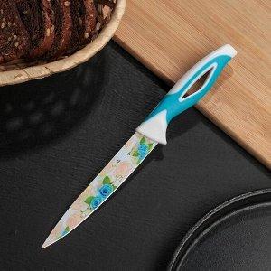 """Нож кухонный с антиналипающим покрытием """"Райский сад"""" лезвие 12,5 см, цвет голубой"""