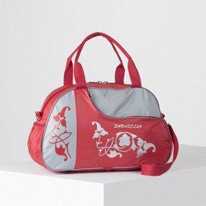Сумка спортивная, отдел на молнии, наружный карман, длинный ремень, цвет красный