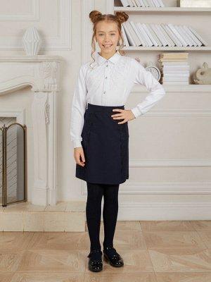 Блузка белая,  трикотажная для девочек