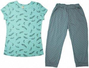 Костюм женский (футболка и капри) Sova & Javoronok, Перья голубые