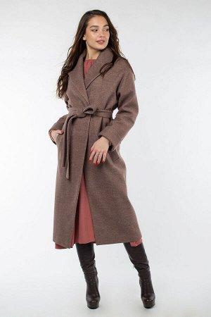 01-9365 Пальто женское демисезонное (пояс) валяная шерсть Коричневый меланж