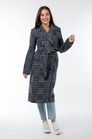 01-09889 Пальто женское демисезонное (пояс) Микроворса/Клетка серо-синий