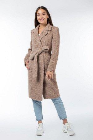 01-9883 Пальто женское демисезонное (пояс) Ворса светло-коричневый