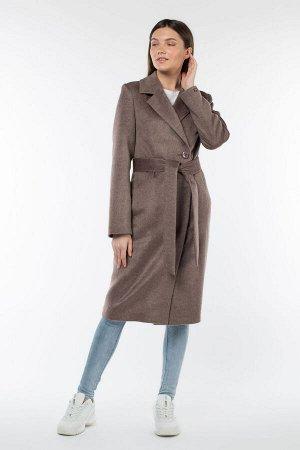 01-9760 Пальто женское демисезонное (пояс) Микроворса коричневый