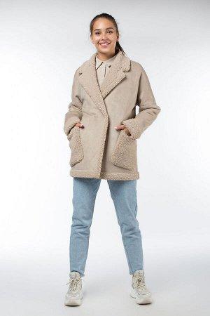 02-2872 Пальто женское утепленное Эко-дубленка бежевый