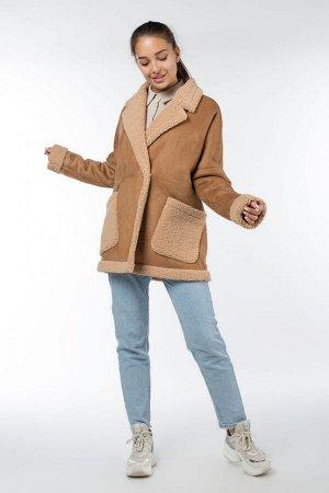 02-2871 Пальто женское утепленное Эко-дубленка Кэмел