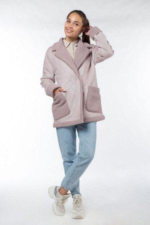 02-2870 Пальто женское утепленное Эко-дубленка розовый