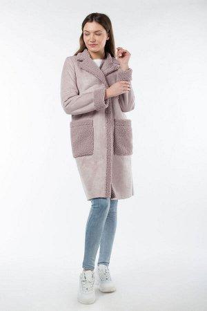 02-2873 Пальто женское утепленное Эко-дубленка розовый