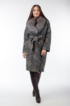 02-2901 Пальто женское утепленное (пояс) Микроворса/Клетка Серо-желтый
