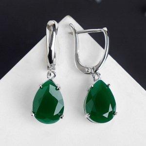 """Серьги """"Кристалл"""" капля, цвет зелёный в серебре"""
