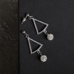 """Серьги со стразами """"Грация"""" форма треугольника с бусиной, цвет белый в серебре"""