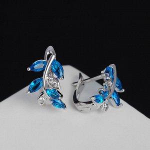 """Серьги со стразами """"Верба"""", цвет голубой в серебре"""