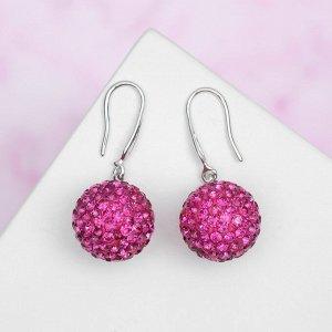 """Серьги со стразами """"Шар"""" шамбала, 12мм цвет розовый в серебре"""