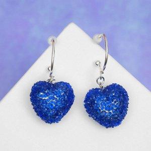 """Серьги со стразами """"Сердце"""" шамбала двойная, цвет синий в серебре"""