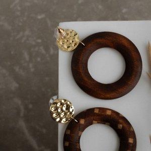 """Серьги ассорти """"Ваканда"""" узор, круг и диск, цвет бежево-коричневый в золоте"""