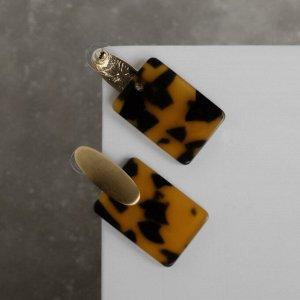 """Серьги ассорти """"Комильфо"""", прямоугольник, леопард, цвет чёрно-коричневый"""