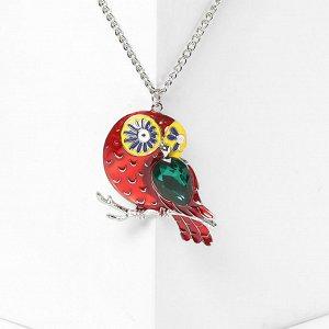 """Кулон """"Птичка"""" с зелёным крылом, цветной в серебре, 65см"""