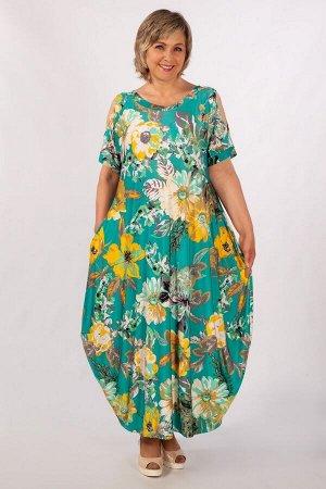 Платье горчичный/сиреневый,джинс/узоры белые, цветы на лиловом,голубой/цветы розовые,   джинс/узоры белые,   тюльпаны на голубом,      . в стиле «Бохо». Рукав цельнокроенный, до локтя, на манжете, на