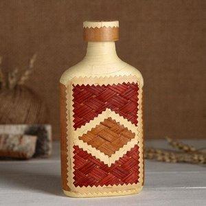 Фляжка «Сувенирная», оформленная берестой, плетение и тиснение, микс, береста
