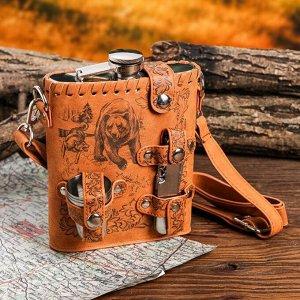 """Туристический набор """"Медведь и собаки"""", фляжка 540 мл, стопки 3 шт, нож-мультитул"""