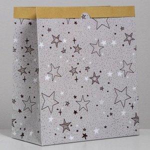 Пакет крафтовый «Звёзды», 32 х 36 х 16 см
