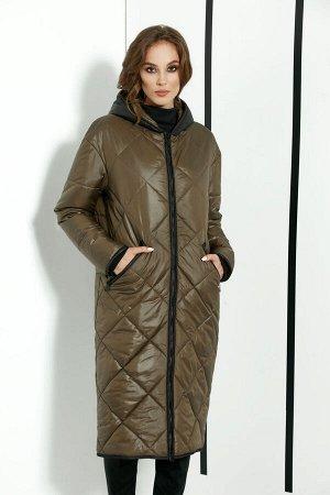"""Пальто Пальто DI-LiA FASHION 0366 хаки  Состав ткани: ПЭ-100%;  Рост: 170 см.  Пальто женское полуприлегающего силуэта, демисезонное из плащевой ткани. По переду центральная застежка на тесьму """""""