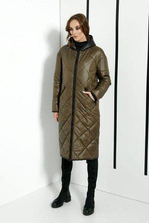 """Пальто Пальто DI-LiA FASHION 366 хаки  Состав ткани: ПЭ-100%;  Рост: 170 см.  Пальто женское полуприлегающего силуэта, демисезонное из плащевой ткани. По переду центральная застежка на тесьму """"м"""