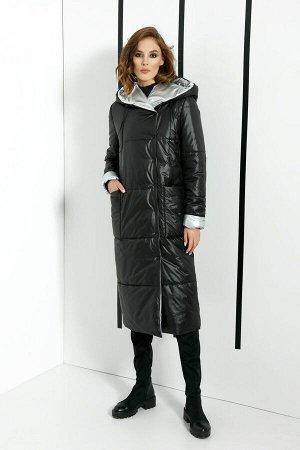 Пальто Пальто DI-LiA FASHION 367 черный  Состав ткани: ПЭ-100%;  Рост: 170 см.  Пальто женское полупилегающего силуэта из плащевой ткани, демисезонное. Пальто с цельнокроеным капюшоном, с центральной