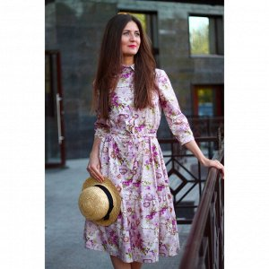 Платье с воланом «Лиловое путешествие»