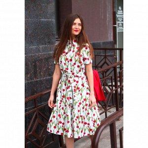 Платье-рубашка с воланом «Красные тюльпаны»