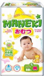 """Подгузники детские одноразовые """"MANEKI"""", размер M, 6-11 кг, 58 шт./упак"""